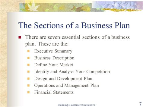 business plan sections electronic commerce mis ppt download