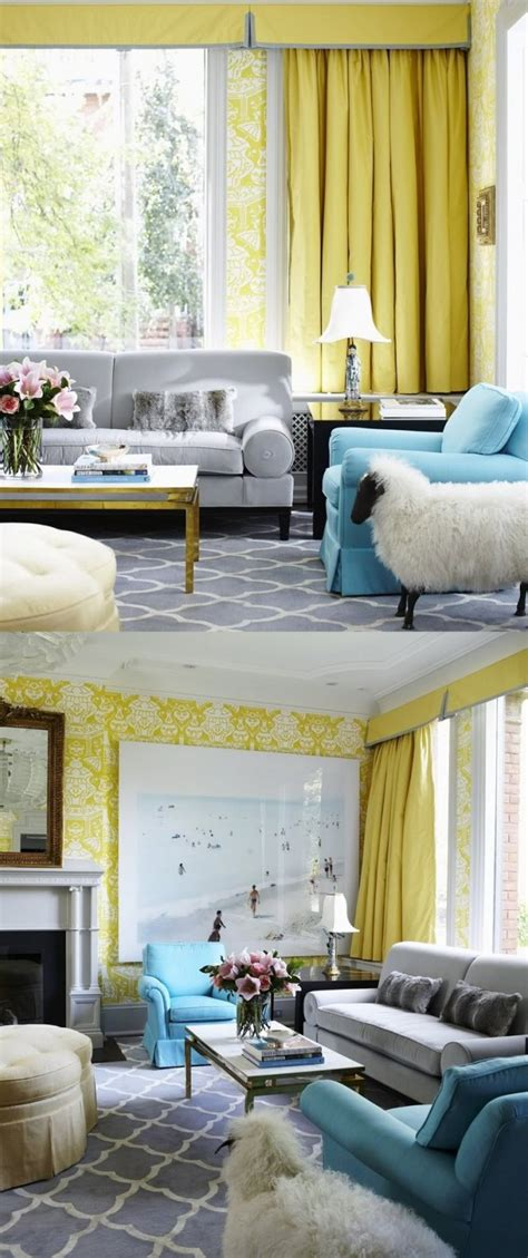 Grey And Yellow And Blue Living Room Yellow Room Interior Inspiration 55 Rooms For Your