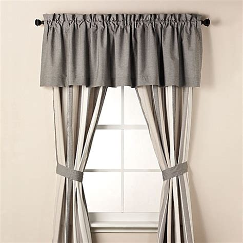 Simple Window Valance Real Simple 174 Tyler Window Valance In Charcoal Bed Bath