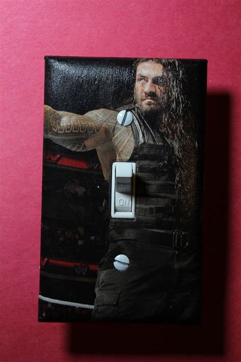 wwe bedroom decor roman reigns wwe light switch cover wrestling boys girls bedroom room decor wwf boy girl