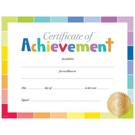 certificate of achievement large certificates