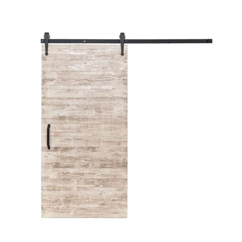 Rustica Hardware 42 In X 84 In Rustica Reclaimed White Barn Door Home Depot