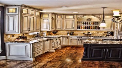 Painted kitchen cabinets with wooden doors, antique
