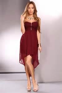 burgundy strapless knit crotchet sheer overlay party dress