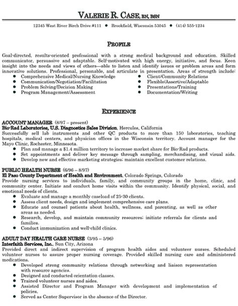 Resume Sles In Nursing Healthcare Sales Resume Exle