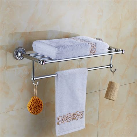 Towel Rack Towel Holder Towel Shelf Chrome Finished Chrome Bathroom Shelves For Towels