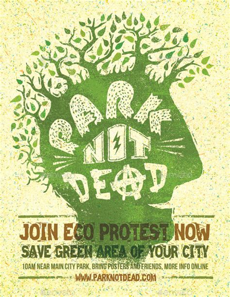Kaos Go Green Collection Earth Text park not dead creative eco protest poster by subtropica graphicriver
