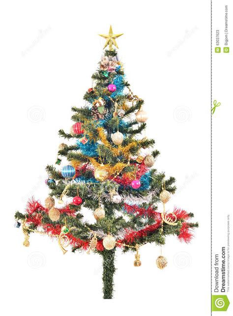 colorful tree ornaments tree with colorful ornaments stock photo