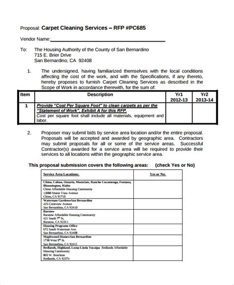 Carpet Cleaning Estimate Template Carpet Vidalondon Rfp For Cleaning Services Template