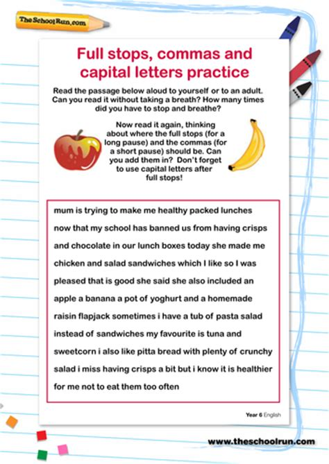 reading training missing 8853005351 full stops commas and capital letters practice by theschoolrun teaching resources tes