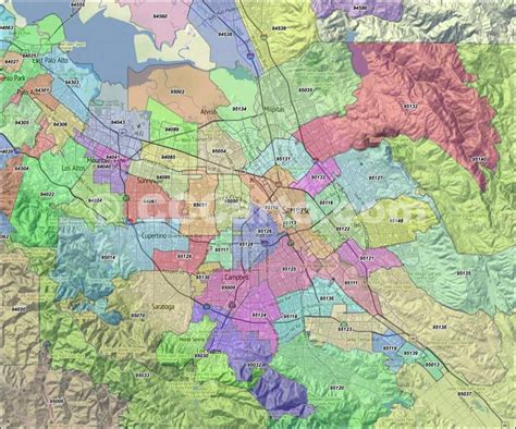 san jose map of zip codes san jose zip codes santa clara county zip codes