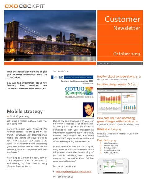 Customer Newsletter Cxo Cockpit Customer Newsletter October 2013