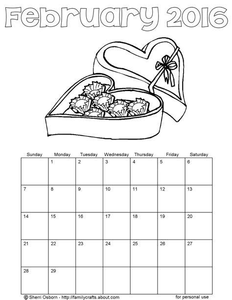 printable calendar 2016 to color printable february 2016 calendars holiday favorites