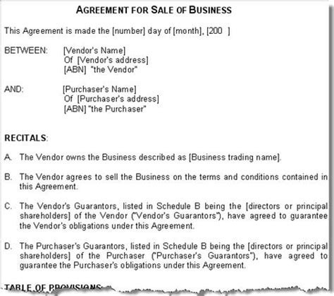 Sale Of Business Agreement Contract Australia Sale Business Contract Template Free