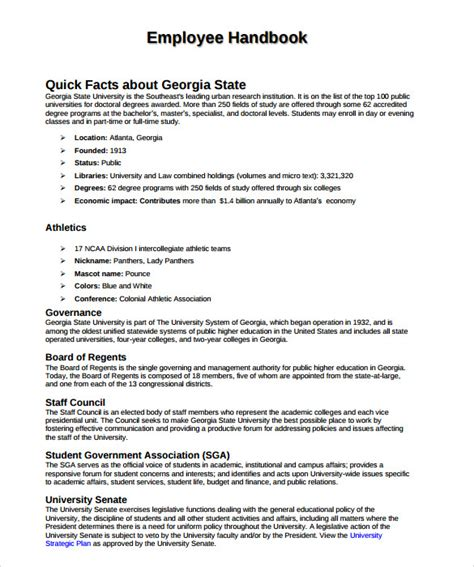 staff handbook template sle employee handbook 9 documents in pdf
