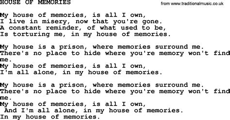 house of memories house of memories by merle haggard lyrics