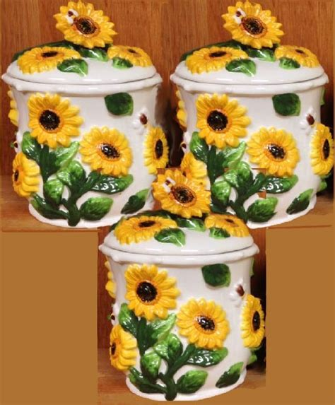 sunflower canisters for kitchen sunflower kitchen decor theme ceramics canister cookie jar burner covers placemats