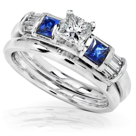 bridal ring sets  carat blue sapphire diamond