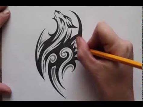 pencil shading around tribal wolf tattoo design real