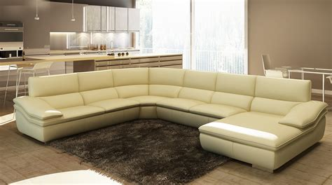 modern beige leather sectional sofa divani casa 782c modern beige italian leather sectional sofa