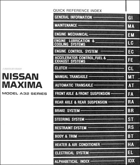 service and repair manuals 1999 nissan maxima interior lighting 1999 nissan maxima repair shop manual original