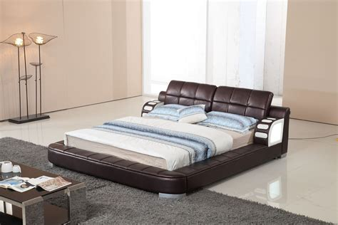 led bed modrest bl9062 modern leatherette bed w led light