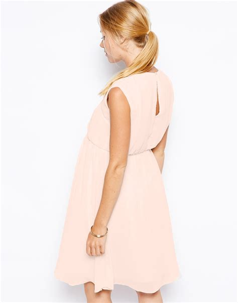 31057 Beige Black Pink Necklace Cut Top lyst asos skater dress with cut out neck in pink