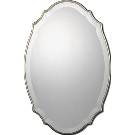 silver oval mirrors bathroom shop allen roth silver beveled oval wall mirror at lowes com