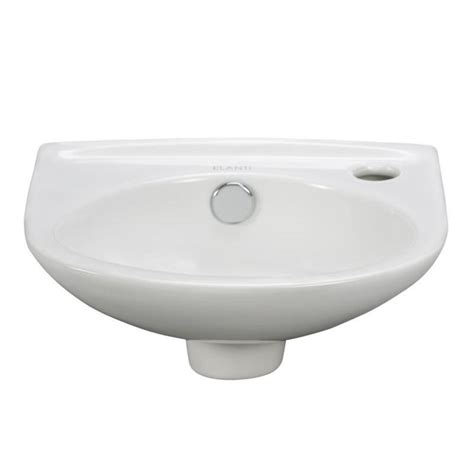 Elanti Wall Mounted Oval Compact Bathroom Sink In White Compact Bathroom Sink