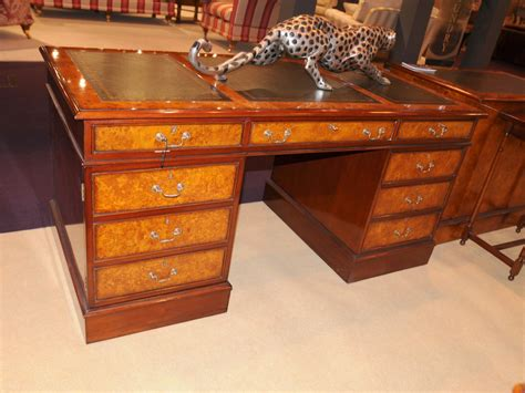 Regency Desk Walnut Pedestal Desks Office Furniture Ebay Pedestal Office Desk