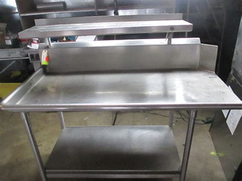commercial stainless steel work prep table  overhead shelf  storage