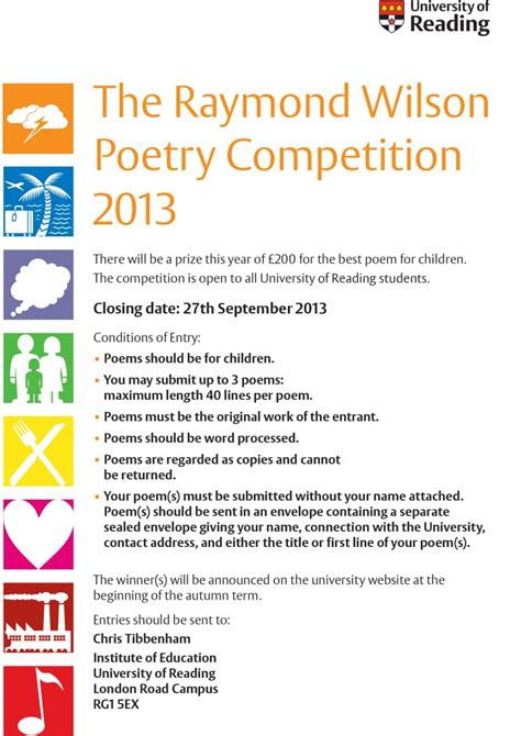 competition 2013 uk the raymond wilson poetry competition 2013 163 200 prize