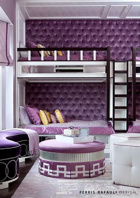 tufted bunk bed built in bunk beds with purple velvet tufted walls
