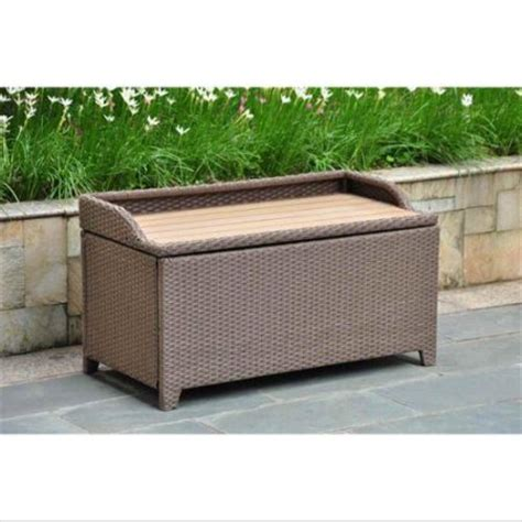 resin wicker storage bench wicker resin aluminum patio bench with storage walmart com