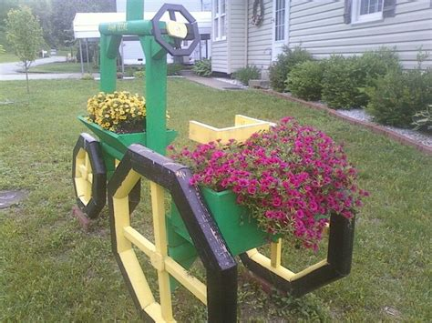 Landscape Timber Yard Landscape Timber Tractor With Flowers Planters