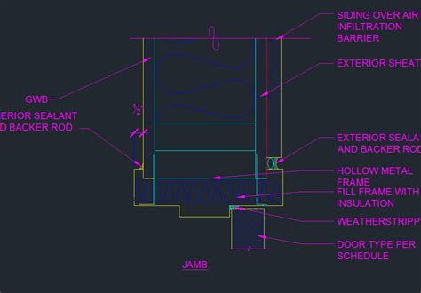 impressive door details exterior door frame jamb detail cad files dwg files plans and door