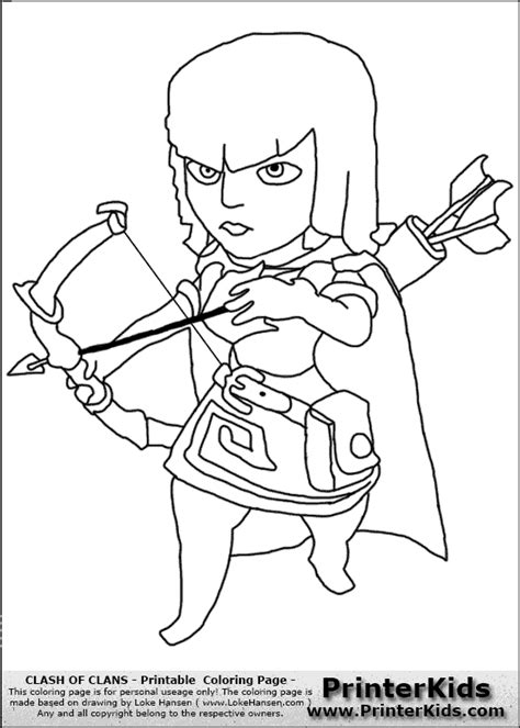 clash of clans archer queen coloring page preview free coloring pages of clashofclans