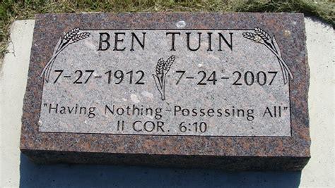 ben tuin 1912 2007 find a grave memorial