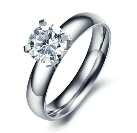 stainless steel women s 7mm cz engagement wedding