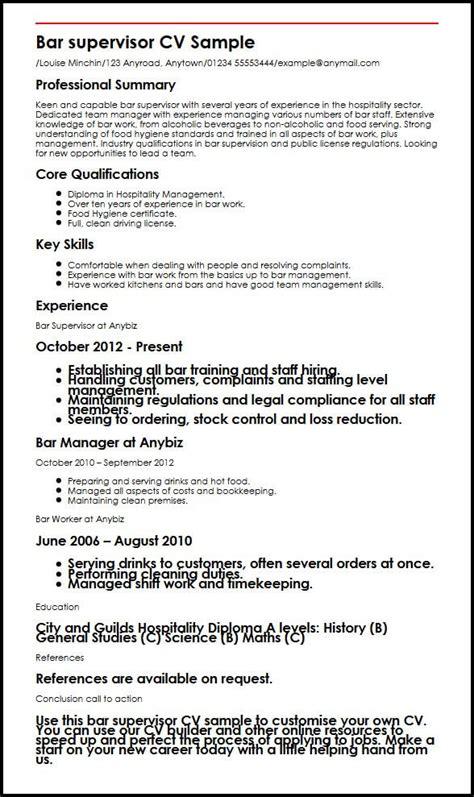 cafe assistant description bar supervisor cv sle myperfectcv