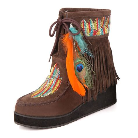 Winter Shoes Top Shoes With Fringe Tassels And Ruffles by Indian Style Retro Fringe Boots Flock Chunky Feather
