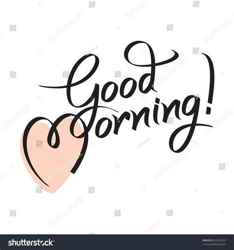 Handmade Lettering - morning lettering text handmade stock vector