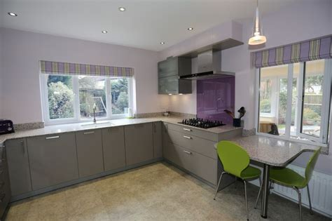 Kitchen Paint Lilac Contemporary Modern Shiny Grey Kitchen With Purple