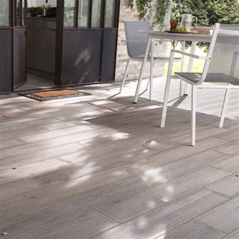 terrasse carrelage carrelage terrasse bois gris 16 x 100 cm sansio