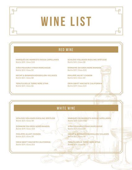 Customize 248 Wine Menu Templates Online Canva Wine Menu Template