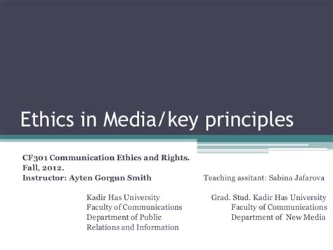 Ethics In Media Communications introduction to media ethics