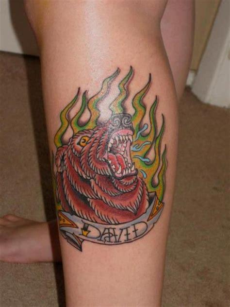 tattoo new school bear new school calf bear tattoo by lone star tattoo