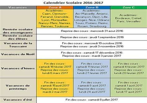 Calendrier ã E 2016 2017 T 233 L 233 Charger Calendrier Vacances Scolaires 2016 2017 Pour