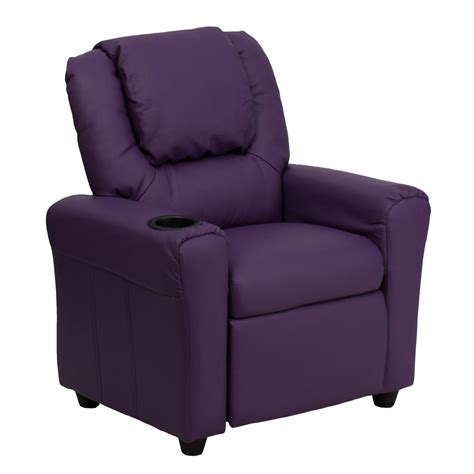 Youth Recliner Chairs Flash Furniture Contemporary Purple Vinyl Recliner With Cup Holder And Headrest Dgutlkidpur