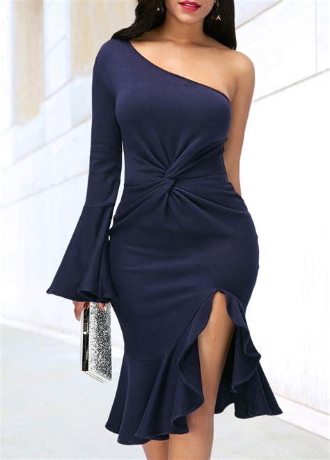 blue one navy blue one shoulder side slit dress rosewe usd